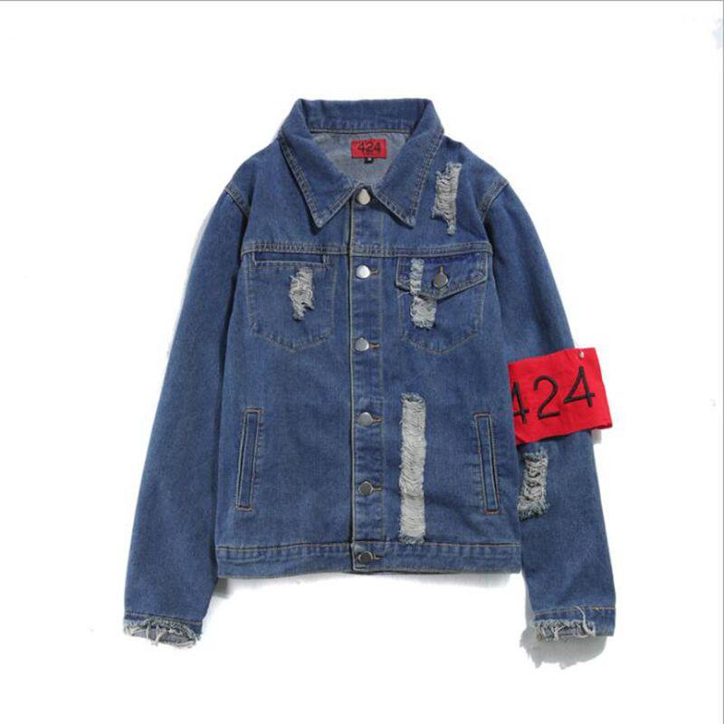 2018 Hot style Top Quality Jeans Jackets 424 FourTwoFour Men Hip Hop Coat Destroy Washed Distressed Denim Jacket Chaqueta