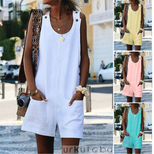 Women Girls Summer Sleeveless Jumpsuit Short Pants Loose Casual Strap Trousers Overalls Romper Plus Size