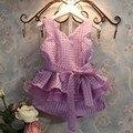 2~7Y children clothing sets girl party noble princess suit belt white purple high quality summer fashion V-neck vest+short 2sets