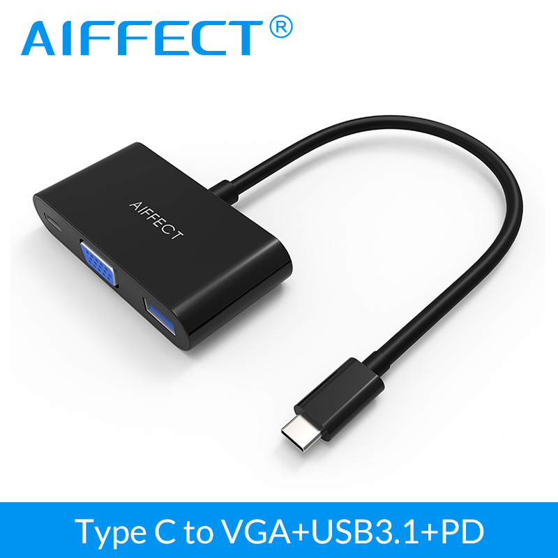 Aiffect USB 3.1 Type C to VGA Converter Adapter 3 in 1 Hub USB 3.1 Hub with PD Charging Port For Apple Macbook Chromebook Pixel