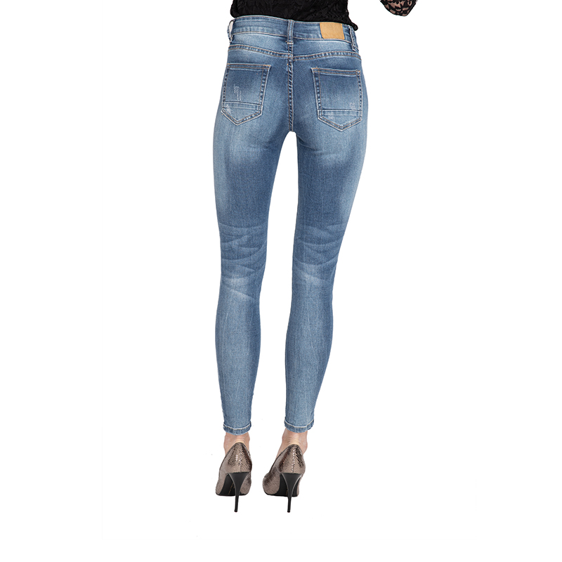 My Will Jeans Blue Mid-Rise Tight-Fitting High-Elastic Cotton Denim Pop Jeans7070 Made In China