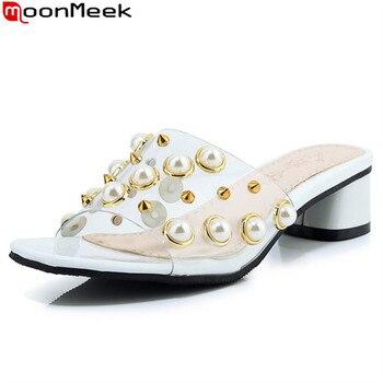 31a3c18c92 MoonMeek 2019 caliente venta nuevo verano zapatos de mujer zapatos de  tacones elegante cadena de cuentas