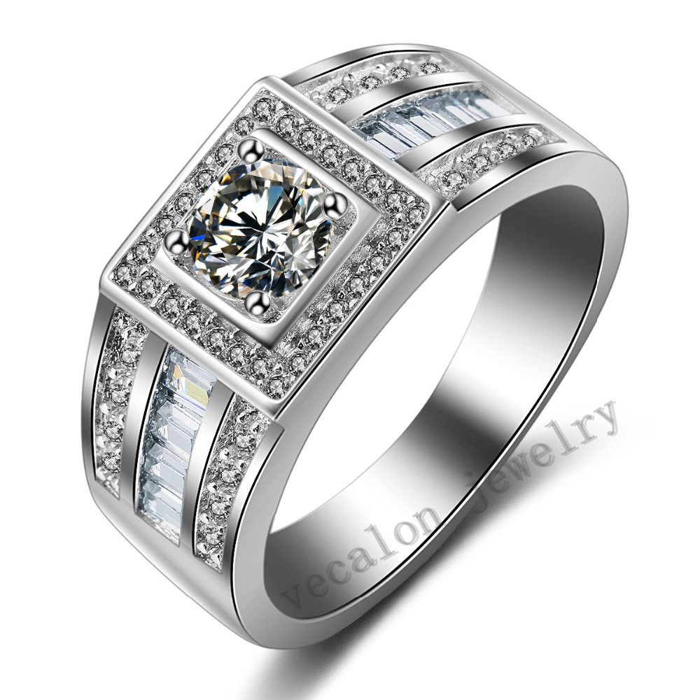 100 real soild 925 sterling silver fashion man ring round 1ct aaaaa cz birthstones ring engagement wedding band ring for men - Mens Silver Wedding Rings