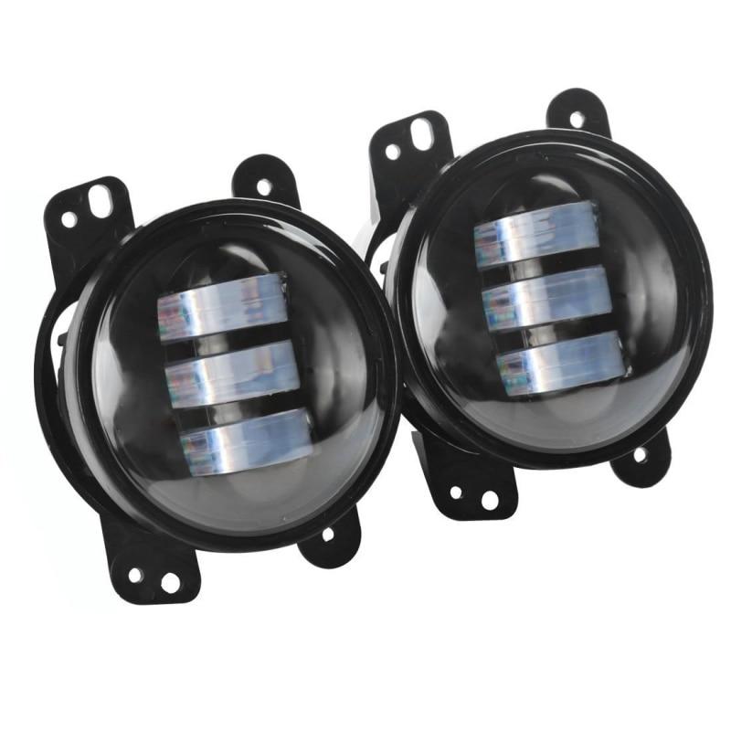 Black 4 Led Fog Lights for Jeep Wrangler JK Led Fog Lamps Bulb Auto Len Projector