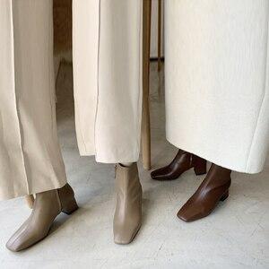 Image 5 - In vera pelle con cerniera punta quadrata tacchi alti stivali della caviglia delle donne del locale notturno di modo stivali partito vacanza elegante inverno scarpe L66