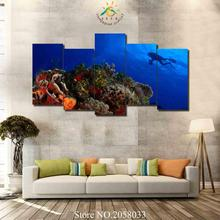3-4-5 Pieces Diving Deep Ocean Modern Wall Art Canvas Printed Painting Poster Modular HD Pictures