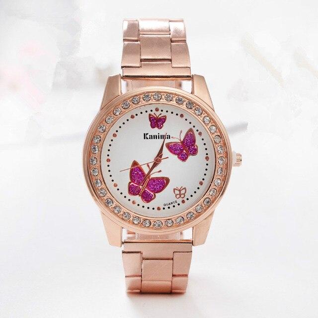 039815d496b Dropshipping Luxo Diamante de Cristal Roxo Borboleta Relógios Das Mulheres  Assistir Cinta de Aço de Ouro