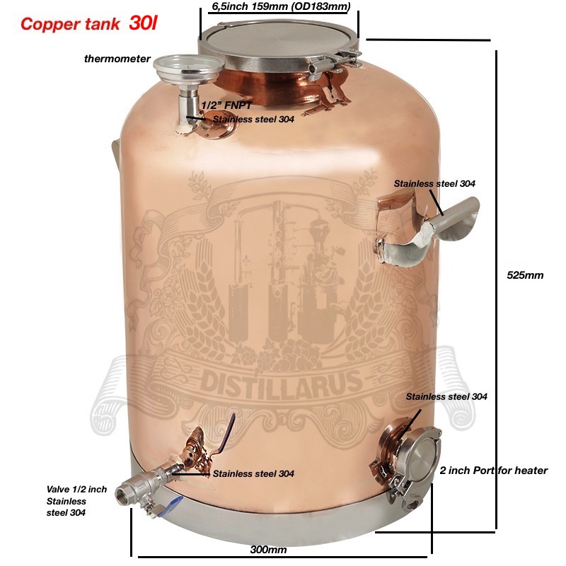 30l (8Gal ) Copper Boiler, Tank for distillation 30l (8Gal ) . Mirror polishing. pw328b 30l