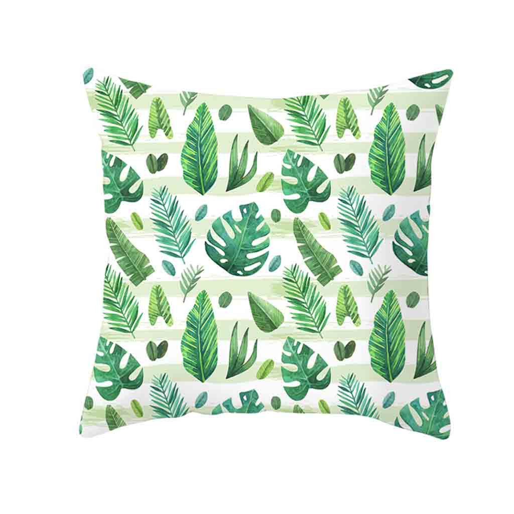 Image 4 - Decorative Green Leaf Printed Throw Pillow Cover Soft Comfortable Pillow Covers Square Polyester Cushion Case For Sofa Bedroom-in Cushion Cover from Home & Garden