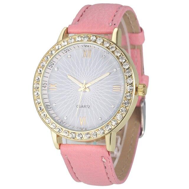 Ladies Wristwatches Quartz-Watch Clock Fashion Women Diamond Analog Leather Quar