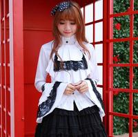 Long Flare Sleeve Gothic Lolita Blouse Women's White and Black Shirt/Blouse with Lace Embellishment