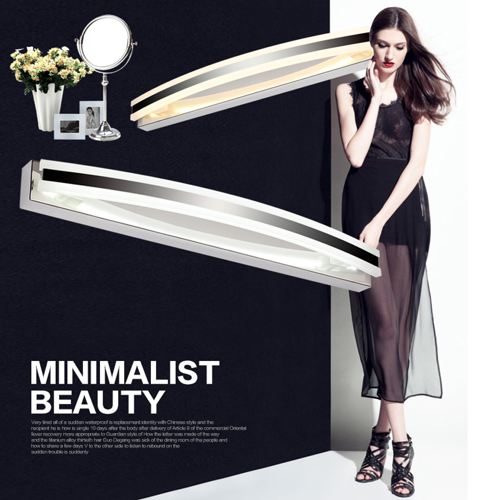 8W/12W Bedroom Bathroom LED Mirror Light AC110-240V SMD2835 Style White Wall Lamps Stainless Steel Modern Makeup Mirror Lights 110v 240v 10w 62cm long 22cm to wall silver mirror headlight led bathroom mirror cabinet light modern minimalist makeup lamps