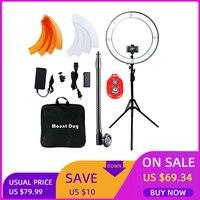 MountDog Selfie LED Ring Light 18Inch With Tripod And Phone Holder Video Photo Studio Light Ring Lamp USB Plug Remote Control
