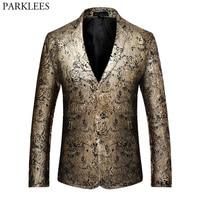 Paisley Blazer Men Luxury Golden Foil Print Blazer Hombre Casual Slim Fit Mens Floral Blazers Single