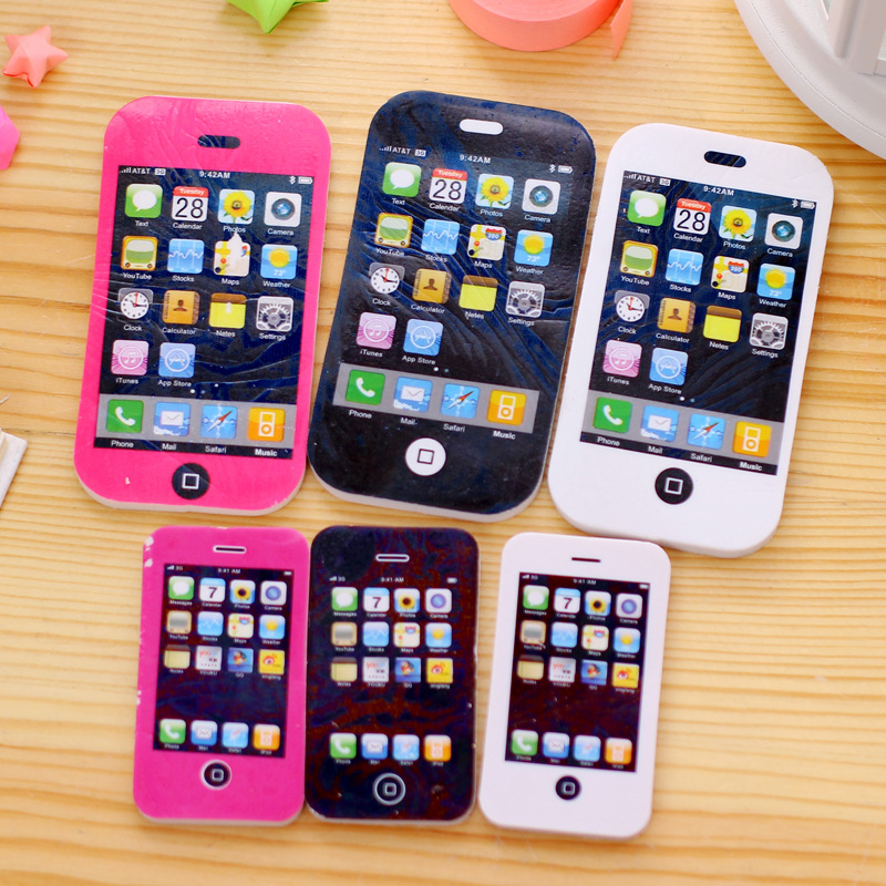 10Pcs IPhone Modeling Students Pen Shape Eraser Rubber Stationery Kid Gift Toy School Supplies Office Series Wholesale