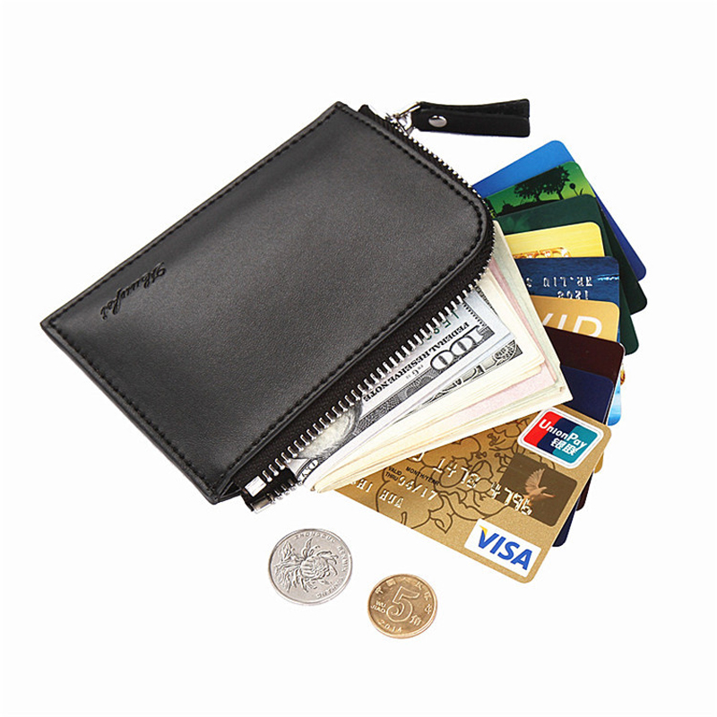 все цены на New Fashion Wallets Men Coin Purse Slim Mini Wallet PU Leather Zipper Portefeuille Homme Small Mens Wallet Black Card Holder онлайн