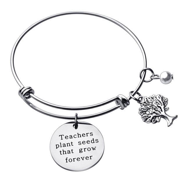 adc598cae2 Stainless Steel Teacher Bangle Charm Bracelet Teacher Gift Appreciation  Thank You Gift from Student Personalized Teacher Jewelry
