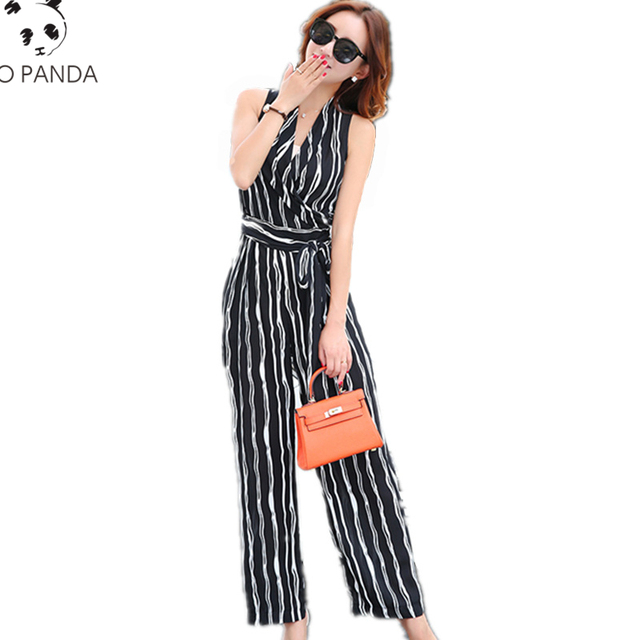 Summer One Pieces Rompers Womens Sleeveless Jumpsuits Female Fashion trousers Siamese Ladies Wide Leg trousers Siamese LYL55
