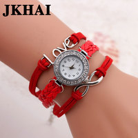 2016 Round Leather Twist Braid LOVE Watch Women Diamond Bangle Bracelet Watch Fashion Watch
