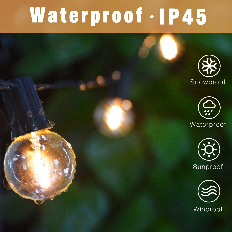 Image 2 - G40 Led سلسلة أضواء 26Ft 25 قطعة خمر LED لمبة 1 واط 2700K IP45 مقاوم للماء في الأماكن المغلقة في الهواء الطلق ضوء سلسلة لمصابيح الفناء الخلفي-في سلاسل الإضاءة من مصابيح وإضاءات على AliExpress