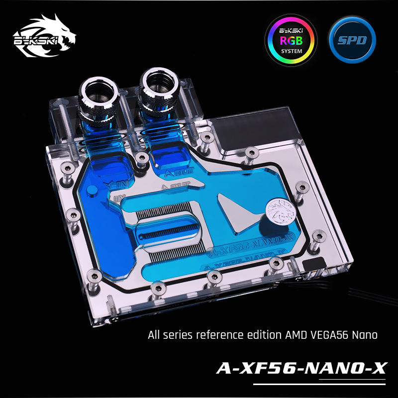 Bykski A-XF56-NANO-X Full Cover Graphics Card Water Block, RBW Lighting system,For All Series Founder Edition AMD VEGA56 Nano цена