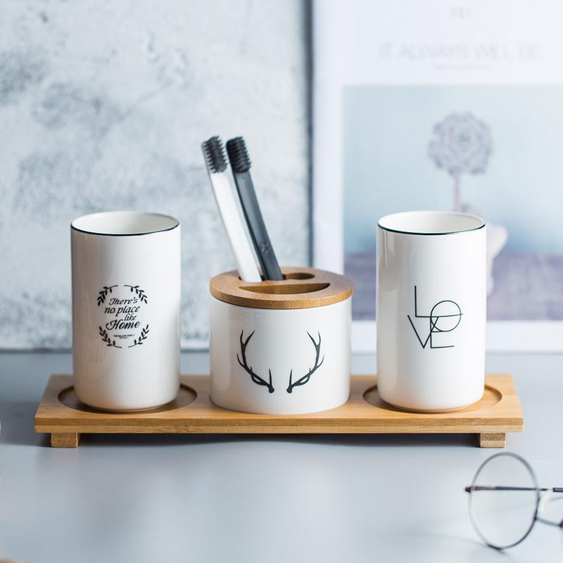 Ceramic Bathroom Accessories Set Nordic Green Plant Toothpaste Cup Toothbrush Holder with Bamboo Tray Couples Tooth Mug Cup Set image