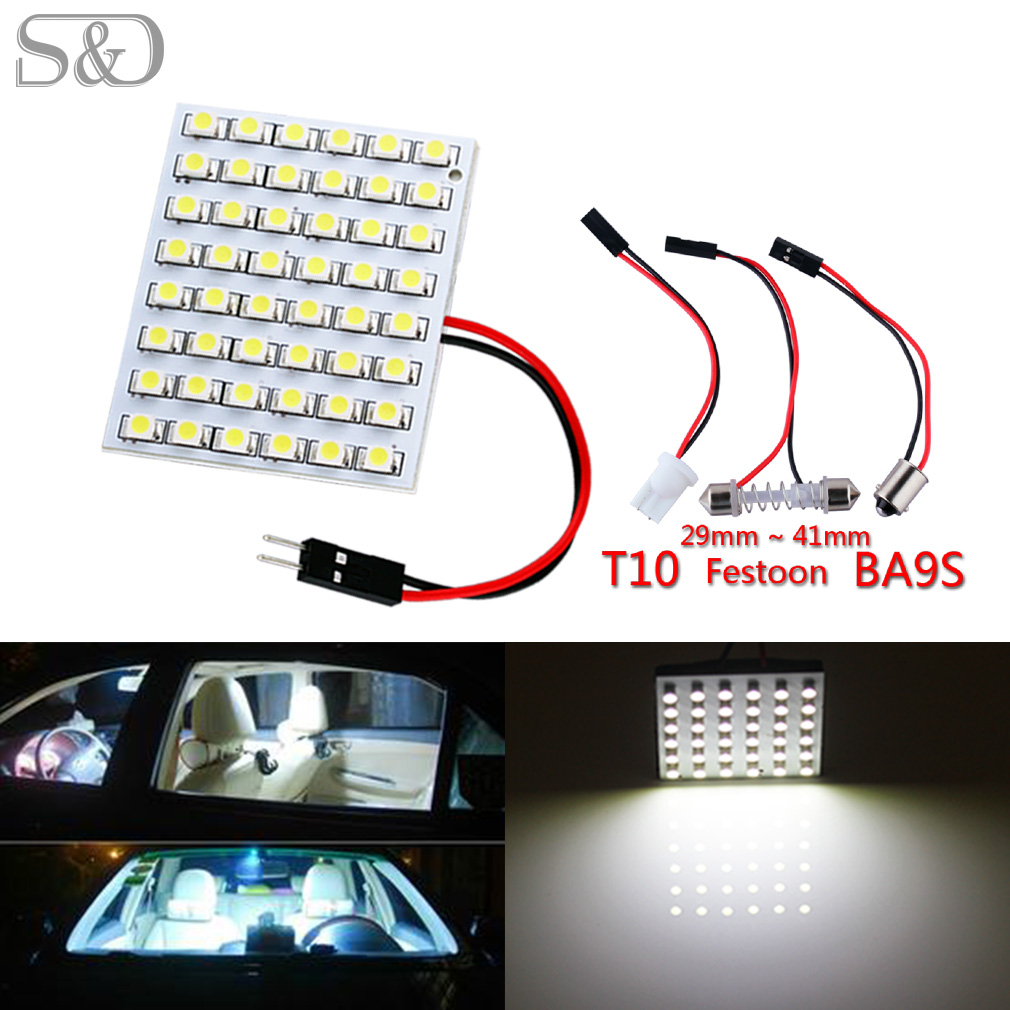 48 SMD White Panel led car T10 BA9S Festoon Dome Bulb w5w c5w t4w reading Lamp led car bulbs Car Light 12V t10 1 5w 6000k 40 lumen 4x5050 smd led car white light bulbs pair dc 12v