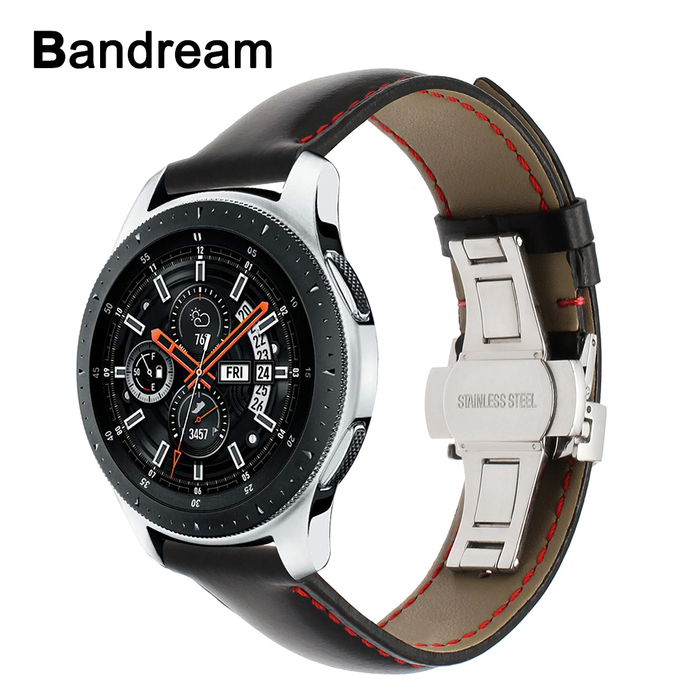 Genuine Calf Leather Watchband For Samsung Galaxy Watch 46mm 42mm Active 2 40mm 44mm Butterfly Clasp Band Sports Strap Bracelet