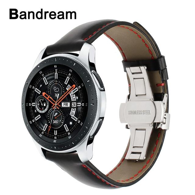 حقيقية العجل جلدية Watchband لسامسونج غالاكسي ساعة 46 مللي متر 42 مللي متر نشط 2 40 مللي متر 44 مللي متر فراشة المشبك الفرقة الرياضة حزام سوار