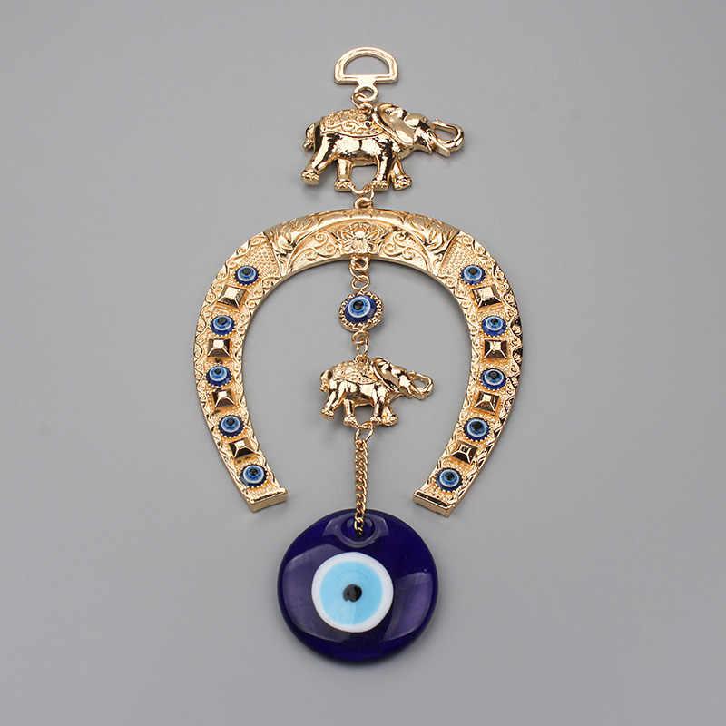 EVIL EYE สไตล์ชาติพันธุ์ Blue Evil Eye พวงกุญแจแขวนผนัง Lucky Gold พวงกุญแจช้างตกแต่งเครื่องประดับของขวัญที่ดีที่สุดสำหรับเพื่อน