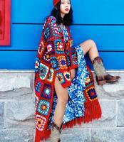 2018 Hot Sale Long Sweater Cardigans Women Hand Made Crochet Knitting Tassel Coats Ladies Rainbow Color Long Cardigan Outwear