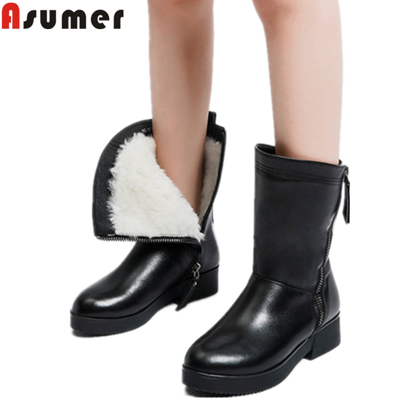 ASUMER big size 35-43 fashion mid calf boots round toe zip pu+cow leather boots med heels ladies wool inside winter snow boots smirnova big size 34 43 fashion shoes woman round toe women boots zip low heels mid calf boots natural genuine leather boots