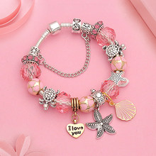 Hot Ocean Silver Pan Charm Bracelet Bangle for Women Romantic Pink Shell Crystal  Bracelet Heart Turtle Beads Bracelets Gift 567b56878b16