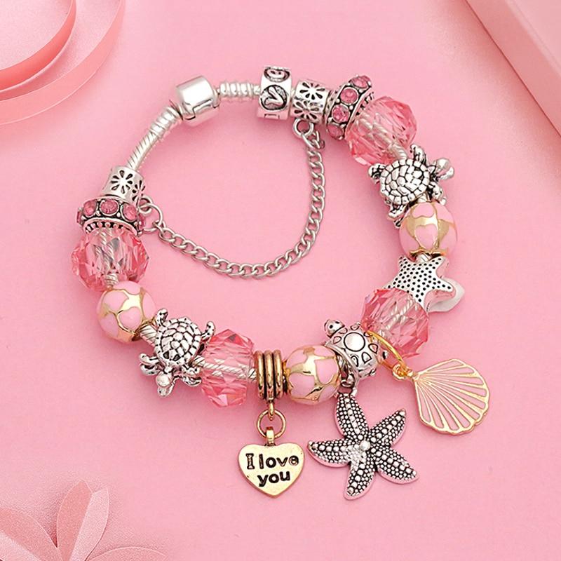 Hot Ocean Tibetan Silver Charm Bracelet Bangle for Women Romantic Pink Shell Crystal Bracelet Heart Turtle Beads Bracelets Gift