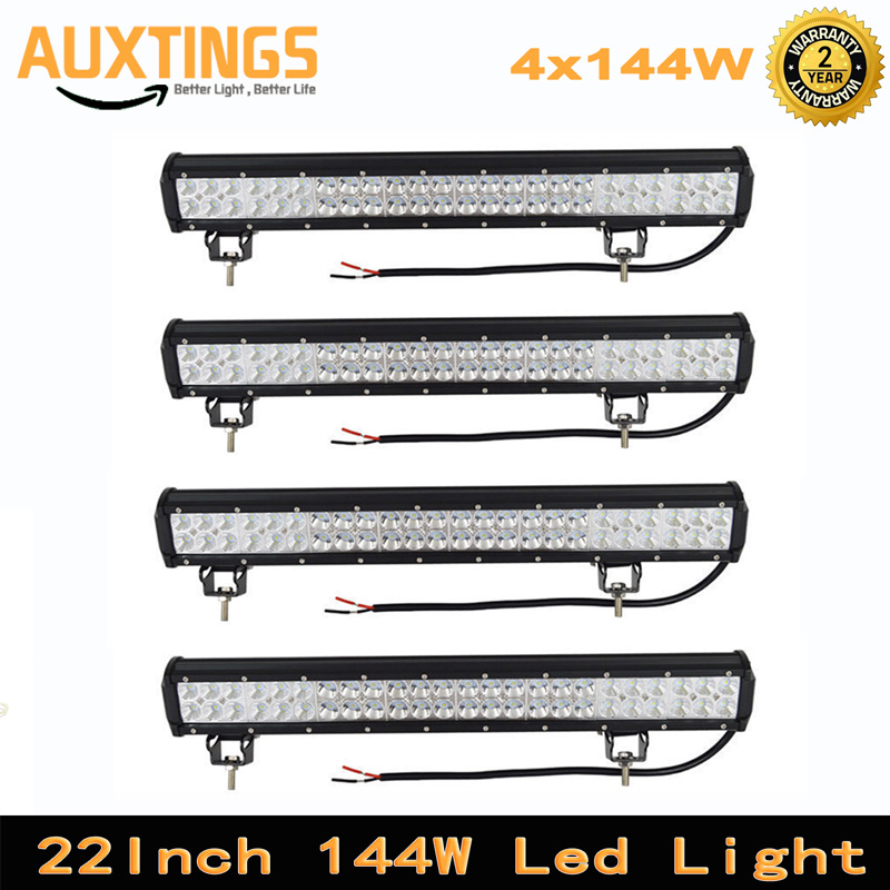 4pcs 22inch 144w led work light bar offroad combo beam for tractor bus atv suv driving