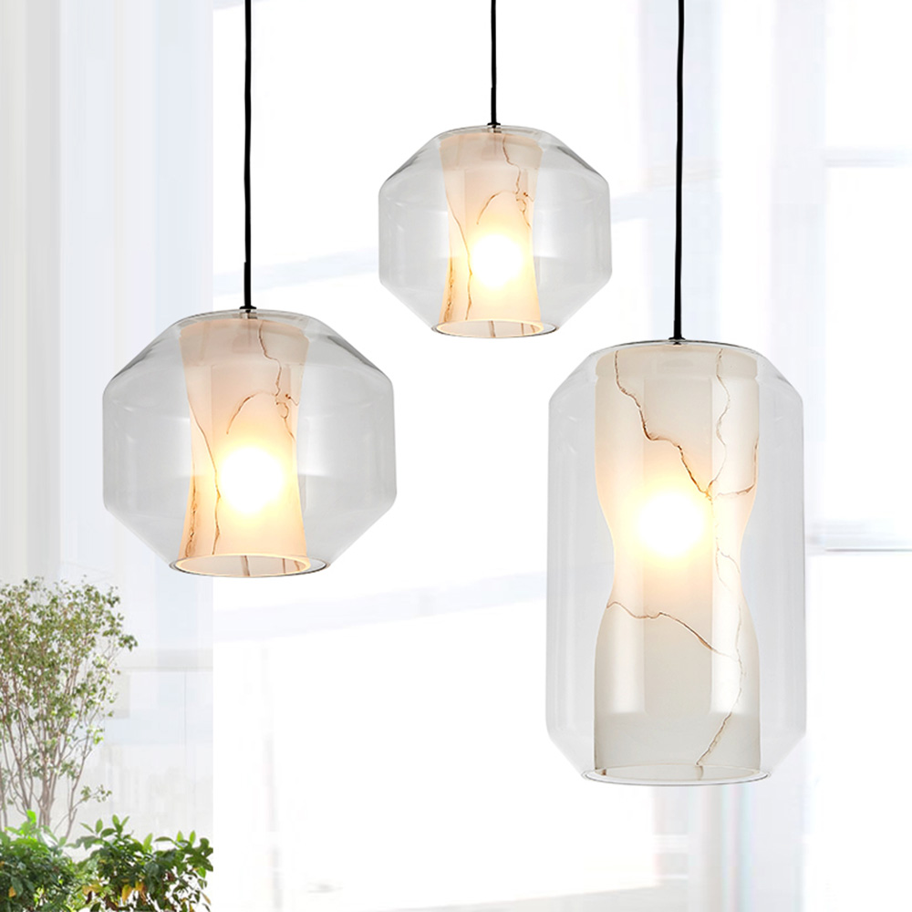 Modern minimalist led pendant lamp clear glass+marble shade, nordic pendant lights lamp e27 lighting fixtures for home deco bar