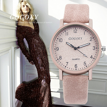 Gogoey Brand zegarki damskie moda skórzany zegarek damski zegarki damskie zegarek zegar mujer Bayan Kol Saati Montre feminino tanie i dobre opinie Wstrząsy Quartz 35mm Skórzane Okrągłe No waterproof Szklane Papieru WAT1982 Prosty Klamra 8 8mm 16mm 25 3cm Stal nierdzewna