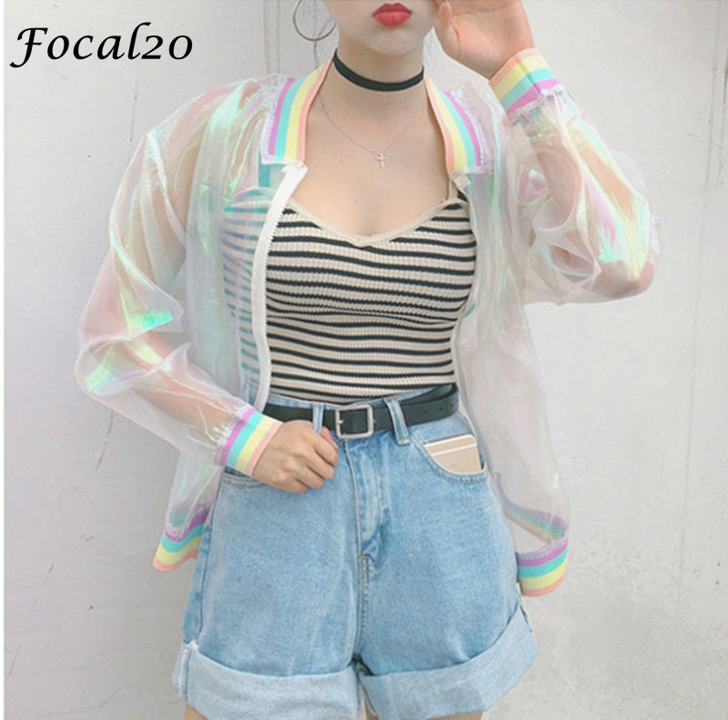 Focal20 Streetwear Rainbow Color Laser Women Sunproof Jacket Clear Iridescent Transparent Jacket Coat Sun Protection Outwear 4