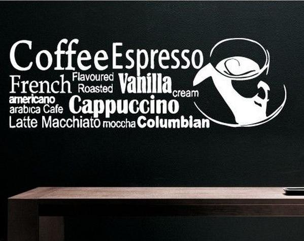 Coffee Shop Vinyl Wall Decal Art Design Coffee Espresso ...