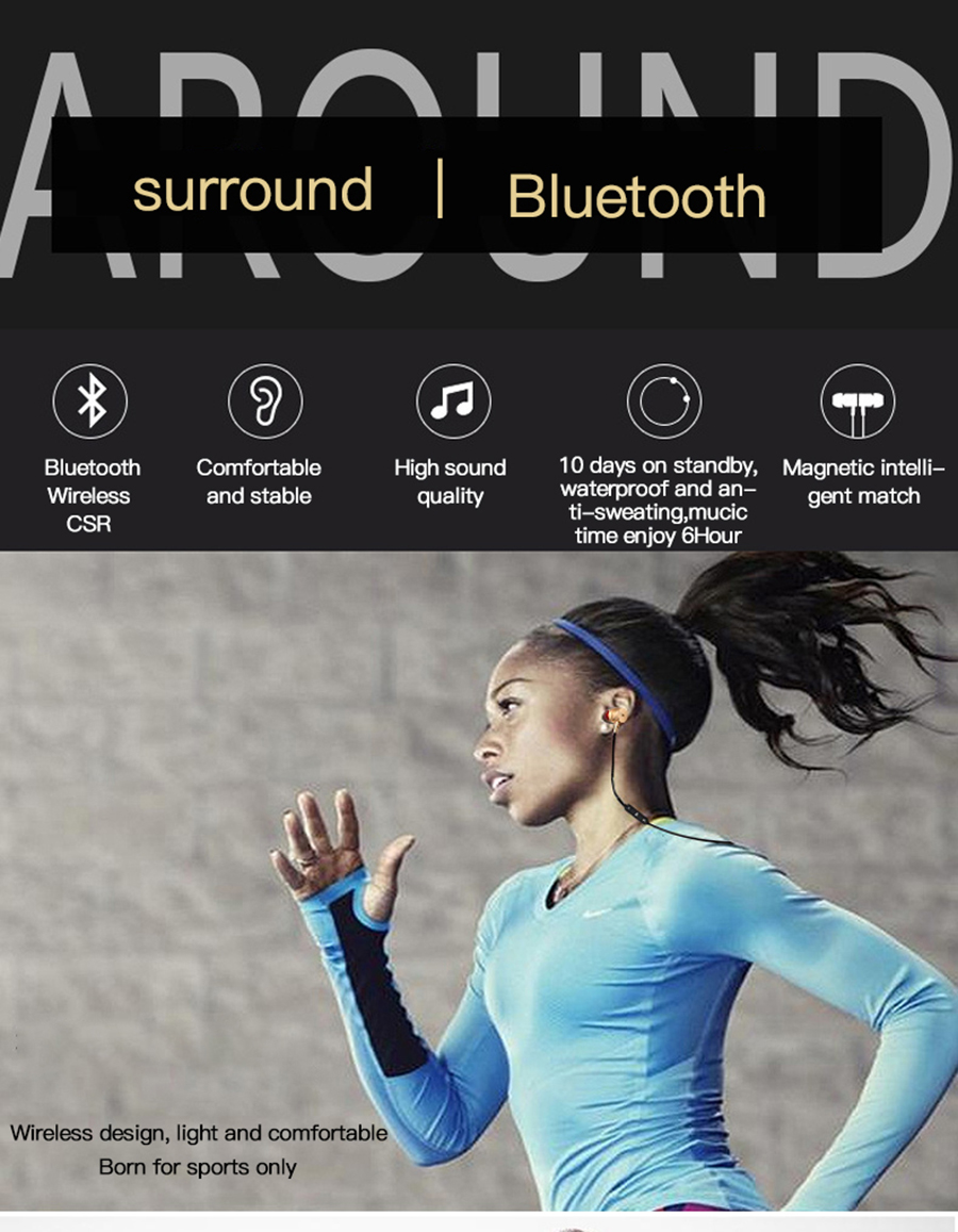 Magnetic music bluetooth earphone Y10 sport running wireless bluetooth headset with Mic For iPhone 8 X 7 Xiaomi 005