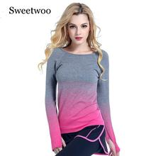Women Professional Yoga Sport Gradient Color T Shirt Long Sleeves Hygroscopic QuickDry Fitness Elastic T-shirt Top Shirts