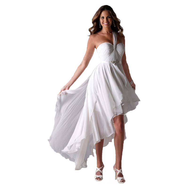 vestido de noiva One Shoulder High Low Short Front Long Back Beach Wedding Dresses Bride Gowns 3