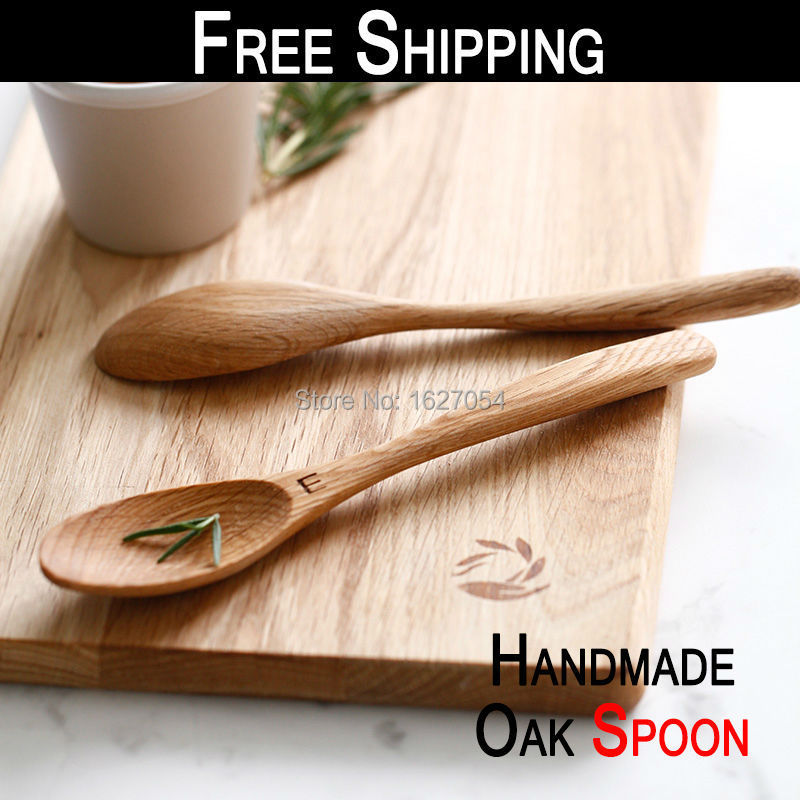 US $10 73 |Free Shipping!Eco Friendly Natural Handmade oak Wooden Spoon  Coffee Tea Kitchen Cooking Dining Utensil Retro Tableware Cutlery-in Spoons