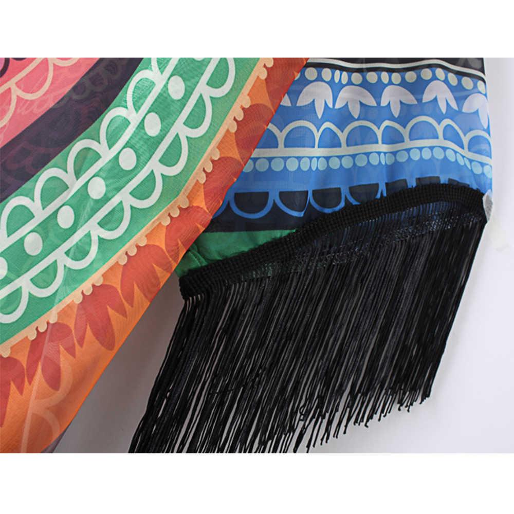 2017 女性の夏の幾何学プリントブラウス房の着物ショールカーディガン Blusa Feminina 岬カジュアルシャツジャケット Kints カバー Ups