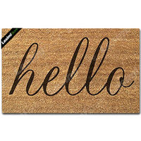 Doormat Entrance Floor Mat Hello Non Slip Doormat 23.6 by 15.7 Inch Machine Washable Non Woven Fabric 2019 new style