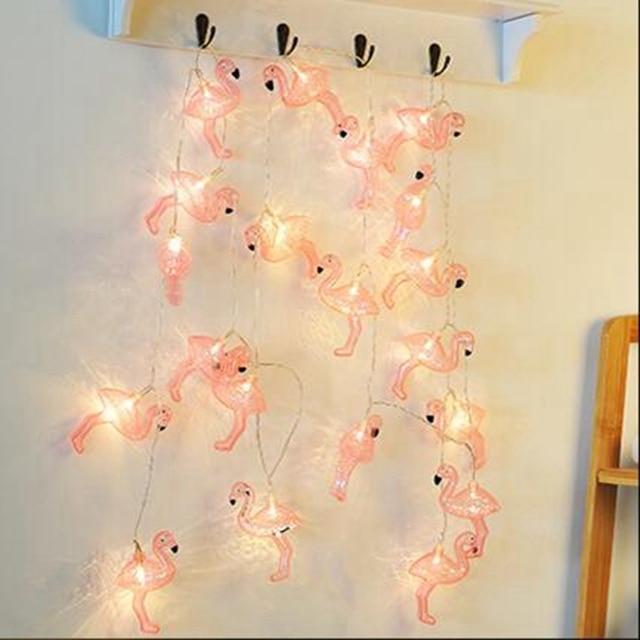 Rosa Flamingo Led String Licht AA Batterie Vogel Girlande Hochzeit Hintergrund Wohnzimmer Mdchen Raumdekoration Lampe Nachtlicht