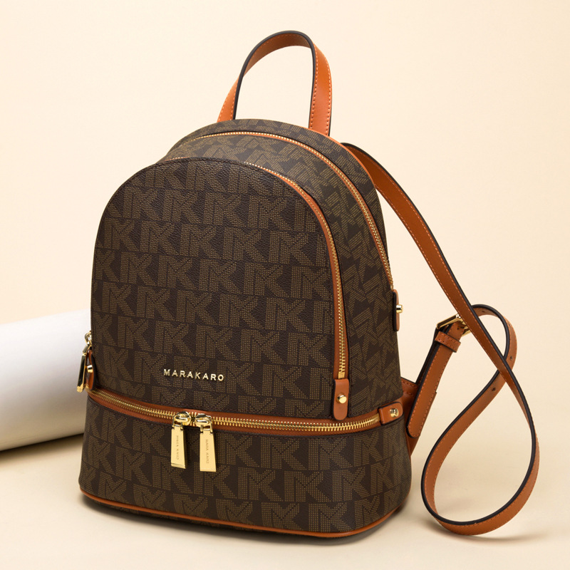 Classic Famous brand style women backpack fashion lady backpacks genuine leather in Backpacks from Luggage Bags