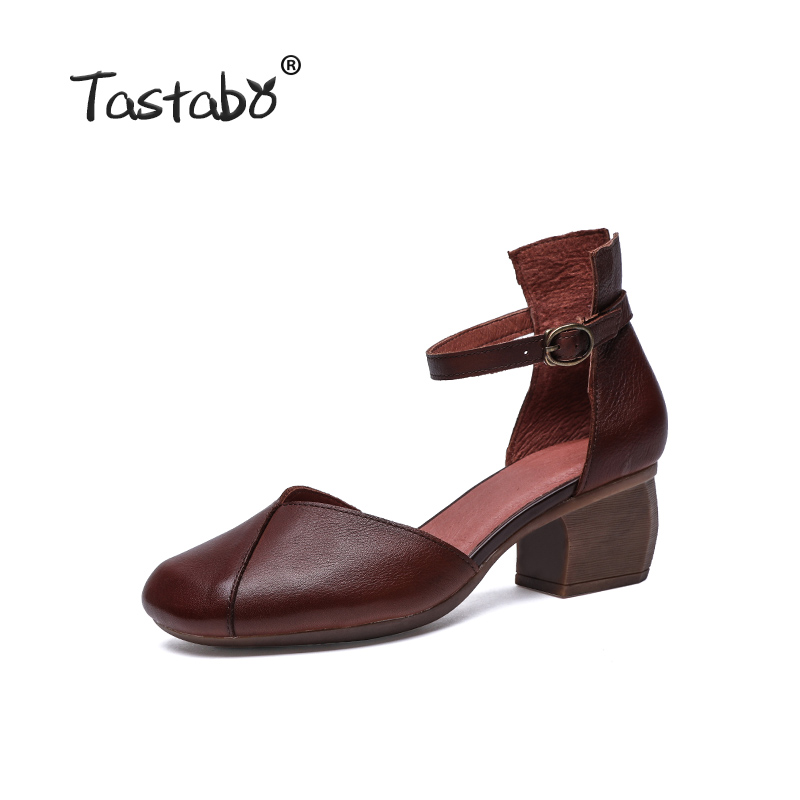 Tastabo 100% Echtem Leder frauen schuhe Gürtel schnalle high heel design Einfache casual stil Braun schwarz S19051 High  schuhe mit hohen absätzen-in Damenpumps aus Schuhe bei  Gruppe 2