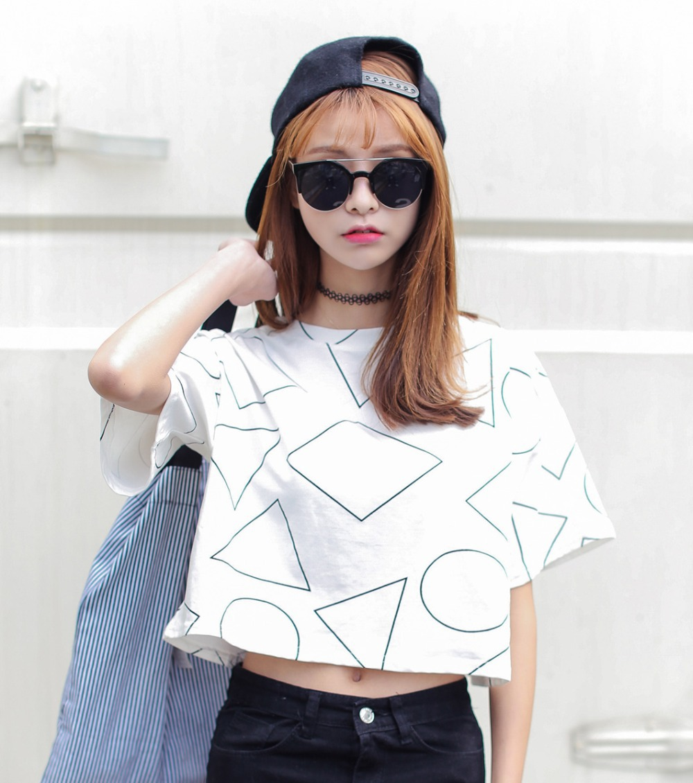 Aliexpress.com : Buy 2015 summer women new Harajuku triangle geometry lo shi short paragraph short sleeved T shirt shorts Korea tide tees for women's from ...