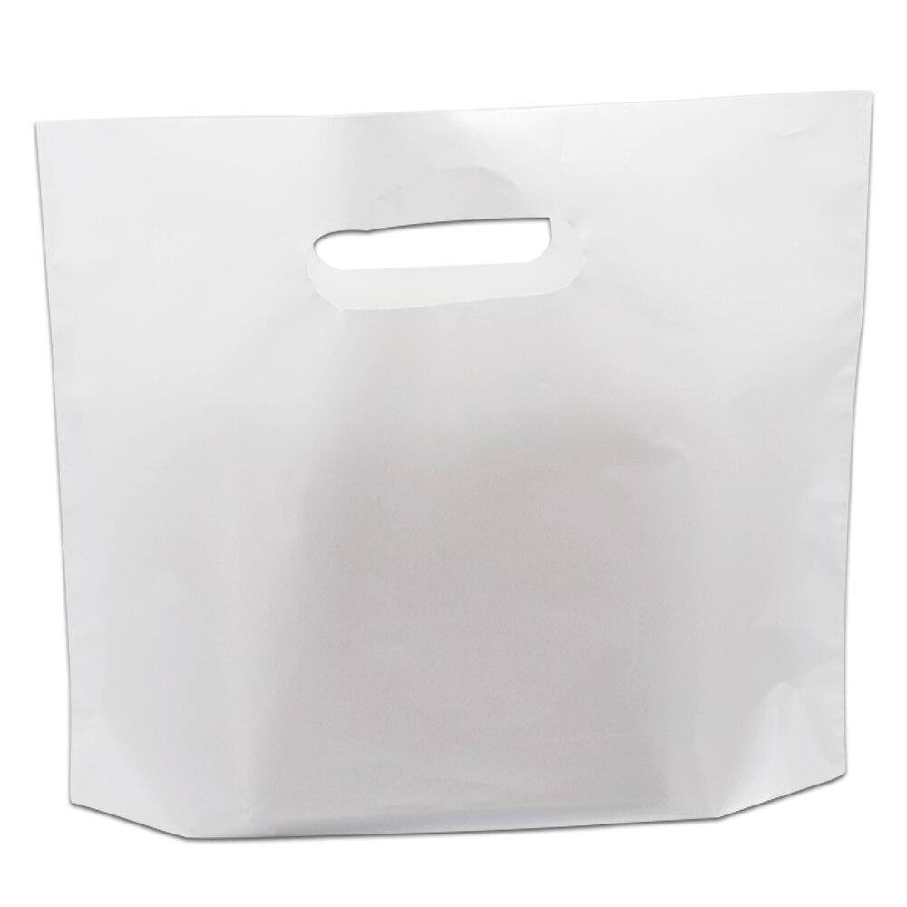 50Pcs/Lot White Plastic Shopping Bag with Handle Gift Craft Apparel Boutique Plastic Shopping Bags for Favor a Garment Bag